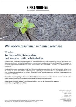 Karriere in der FINKENHOF Rechtsanwaltskanzlei Frankfurt